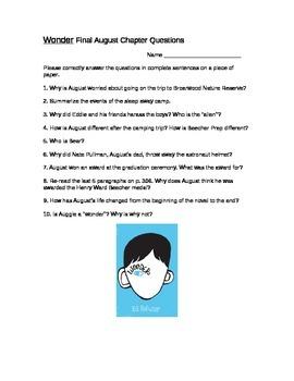 Wonder Novel August Final Chapter Questions
