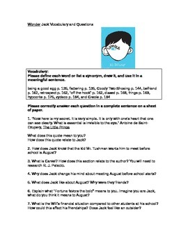 Wonder Novel Jack Chapter Vocabulary and Questions with Answer Key