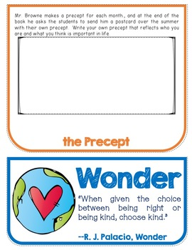 Wonder, Novel Study, Flip Book Project, Writing Prompts, Vocabulary, Activities
