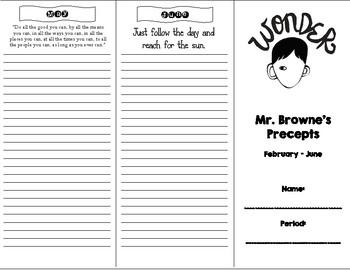 Wonder Novel Study ~ Mr. Browne's Precepts