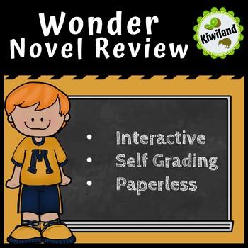 Wonder Novel Study Review - Digital Task Boom Learning Card