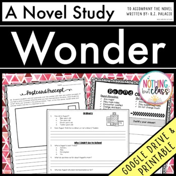 Wonder Novel Study Unit: comprehension, vocabulary, activities, and tests