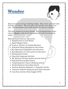 Wonder Novel Study & Student Engagement Journal