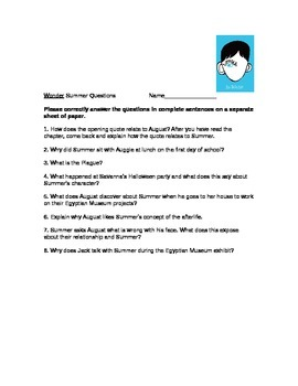Wonder Novel Summer Questions and Answer Key
