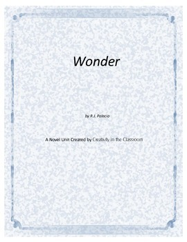Wonder  Novel Unit Plus Grammar