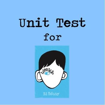 Wonder Novel Unit Test - Includes Multiple Choice, Cold Text, & Essay Responses