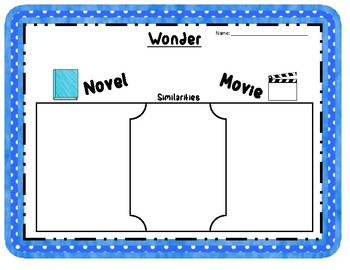 Wonder Book/Novel vs. Movie Compare and Contrast Graphic Organizers