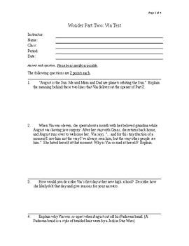 Wonder Part 2 Test Questions