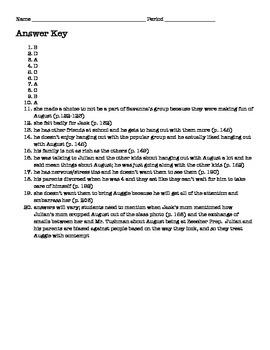 Wonder Part III, IV, V Reading Quiz