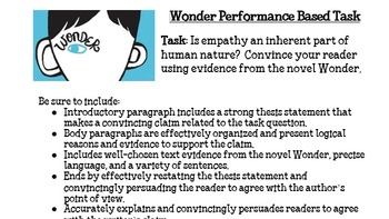Wonder by RJ Palacio Performance Based Writing Task