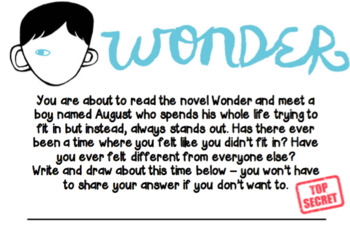 Wonder Pre-Reading Activity - Top Secret!