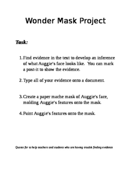 Wonder Project Create A Mask of Auggie's Face Paper Mache
