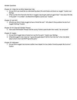 Wonder Questions ch. 22-26