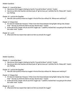 Wonder Questions ch. 15-18