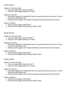 Wonder Questions ch. 19-21