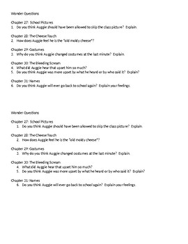 Wonder Questions ch. 27-31
