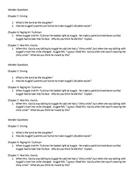 Wonder Questions ch. 5-7