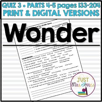 Wonder Quiz 3 (Parts 4 & 5)