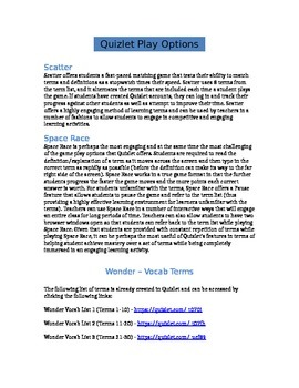 Wonder - Novel Vocab List - Quizlet Lesson