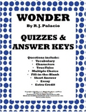 Wonder By R.J. Palacio Quizzes and Answer Keys