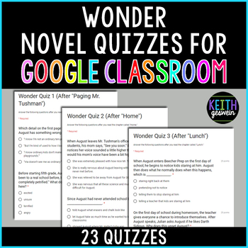 Wonder Quizzes for Google Classroom