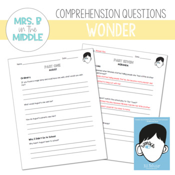 Wonder (R.J. Palacio) - Comprehension Questions
