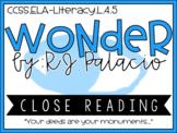 Wonder R.J Palacio - Common Core Standards - Close Reading Activity