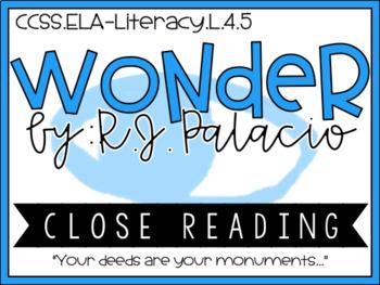 Wonder R.J Palacio - Common Core Standards - Close Reading