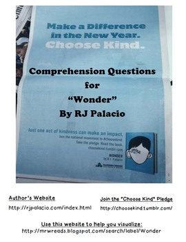 Wonder RJ Palacio Comprehension Questions Novel Study