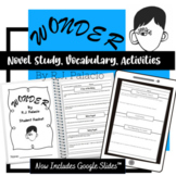 Wonder R.J. Palacio Novel Study (Questions, Vocab, Writing