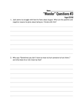 Wonder - R.J. Palacio Writing Response Questions