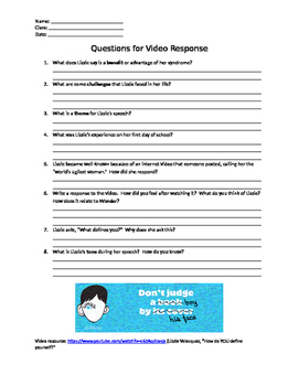 Wonder RJ Palacio resource - Listening Guide for Related TED Talk