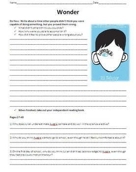Wonder Unit Plan: Reading Guide, Chapter Questions, Activities