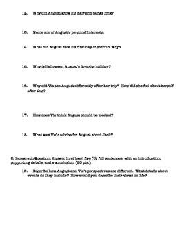 Wonder Reading Quiz Parts I & II