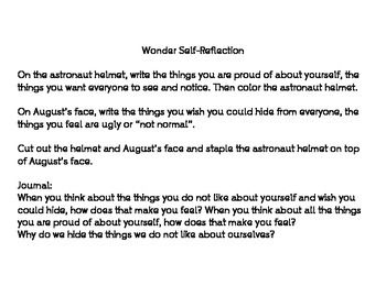 Wonder Self Reflection and Journal