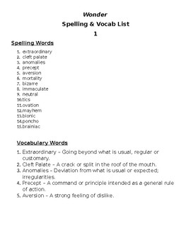 Wonder Spelling and Vocabulary List #1