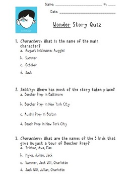 """Wonder"" Story Quiz"