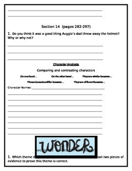Editable Wonder by RJ Palacio Student Packet