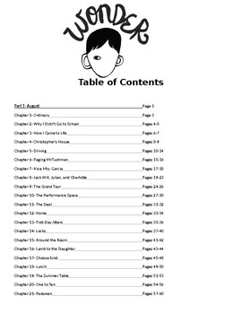 Wonder Table of Contents