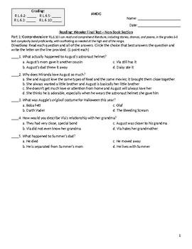 Wonder Test Common Core Standard Aligned