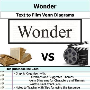 Wonder - Text to Film Venn Diagram & Written Conclusion