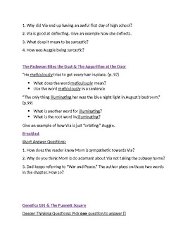 Wonder Unit - Part Two (Via) Questions