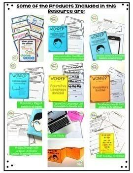 Wonder Novel Study Unit Bundle - Questions, Vocab, Answer Keys, Activities...