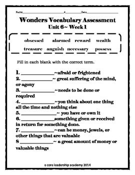 Wonder Vocabulary Assessment Unit 6 Week 1