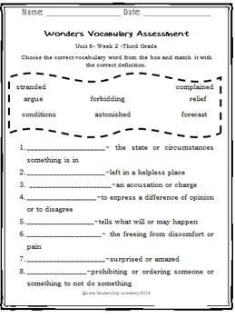 Wonder Vocabulary Assessment Unit 6 Week 2