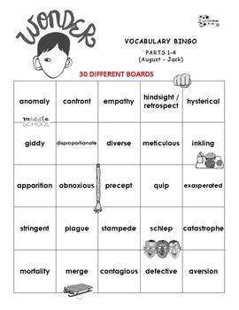 Wonder Vocabulary Bingo