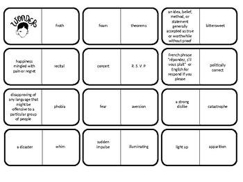 Wonder Vocabulary Domino Game