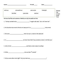 Wonder Vocabulary Packet 1