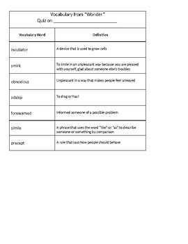 Wonder Vocabulary Packet 2