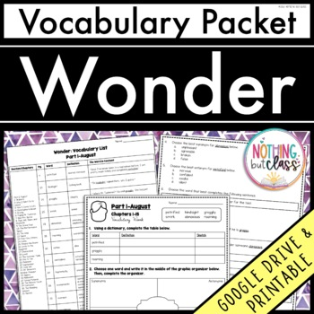 Wonder: Vocabulary Words with Activities